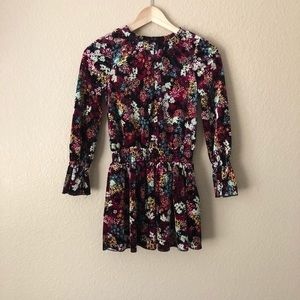NWOT Girls Ella moss velvet floral dress